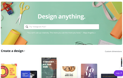 Canva homepage - design automation software