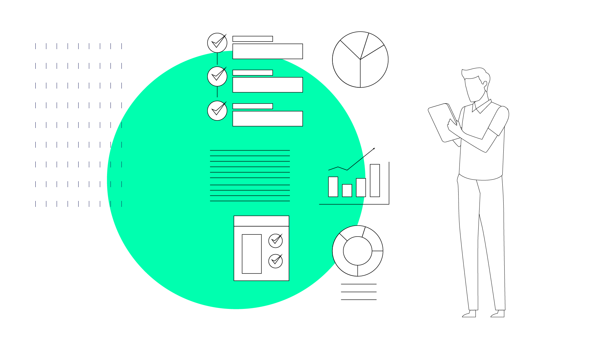 Image of person stood looking inquisitively at symbols, used in blog 10 ways to achieve effective employee development on a small business budget