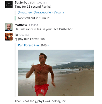 Busterbot and giphy on Slack