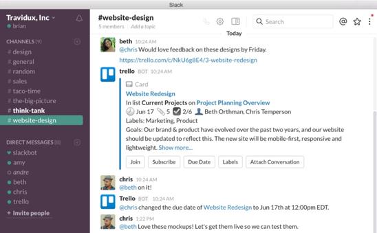 Slack - online communication tool