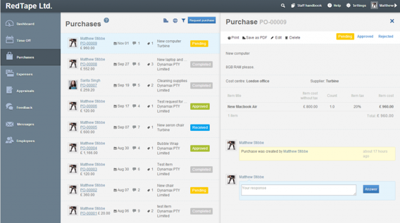 Turbine - online holiday and purchase order management