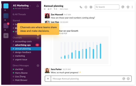 An example of Slack's interface - a communication app for teams