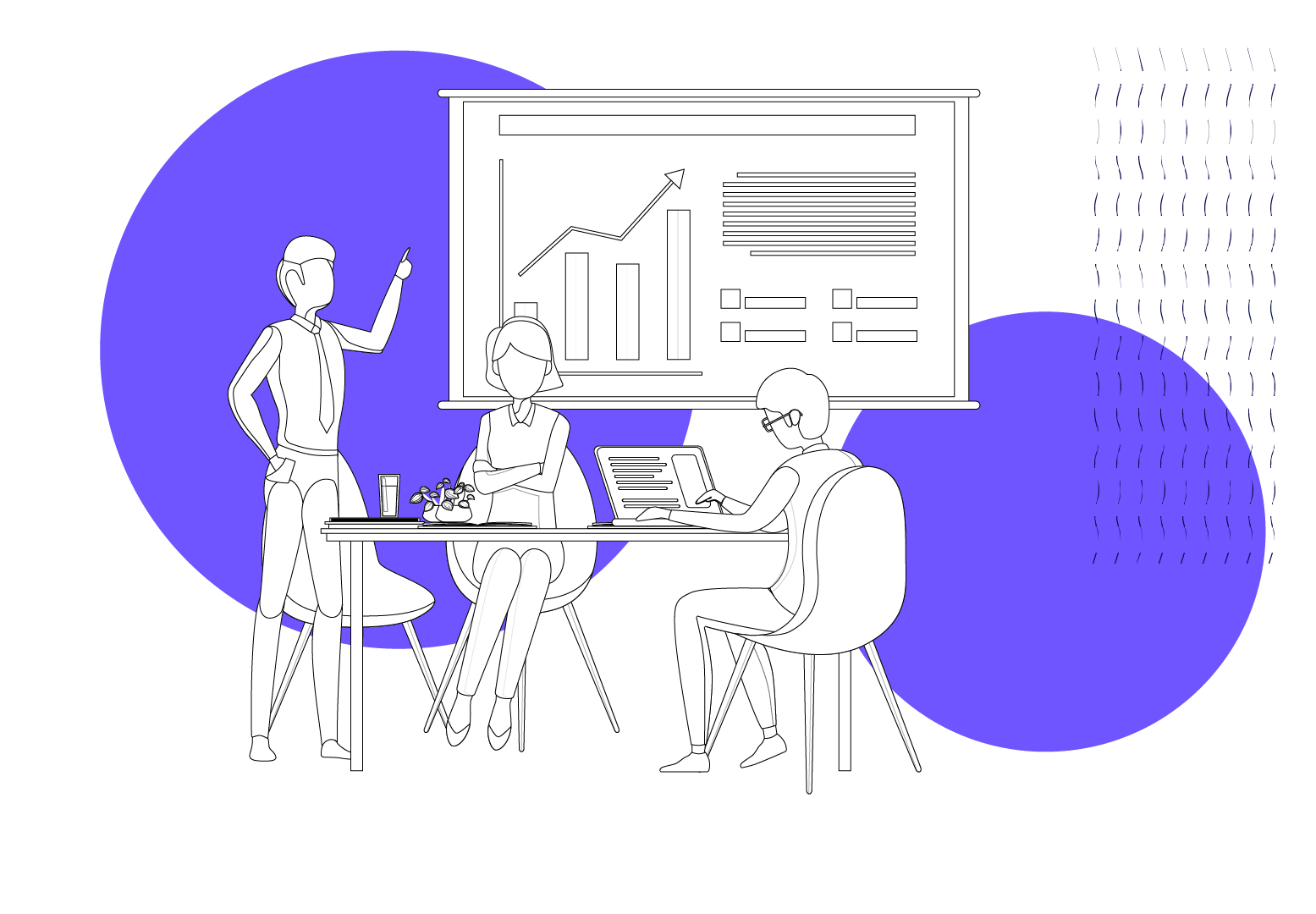 Illustration of people in a board meeting looking at a graph, used in blog 10 ways to achieve effective employee development on a small business budget