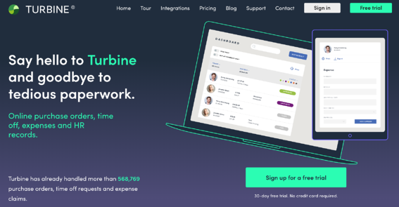 Turbine homepage - HR automation software for business