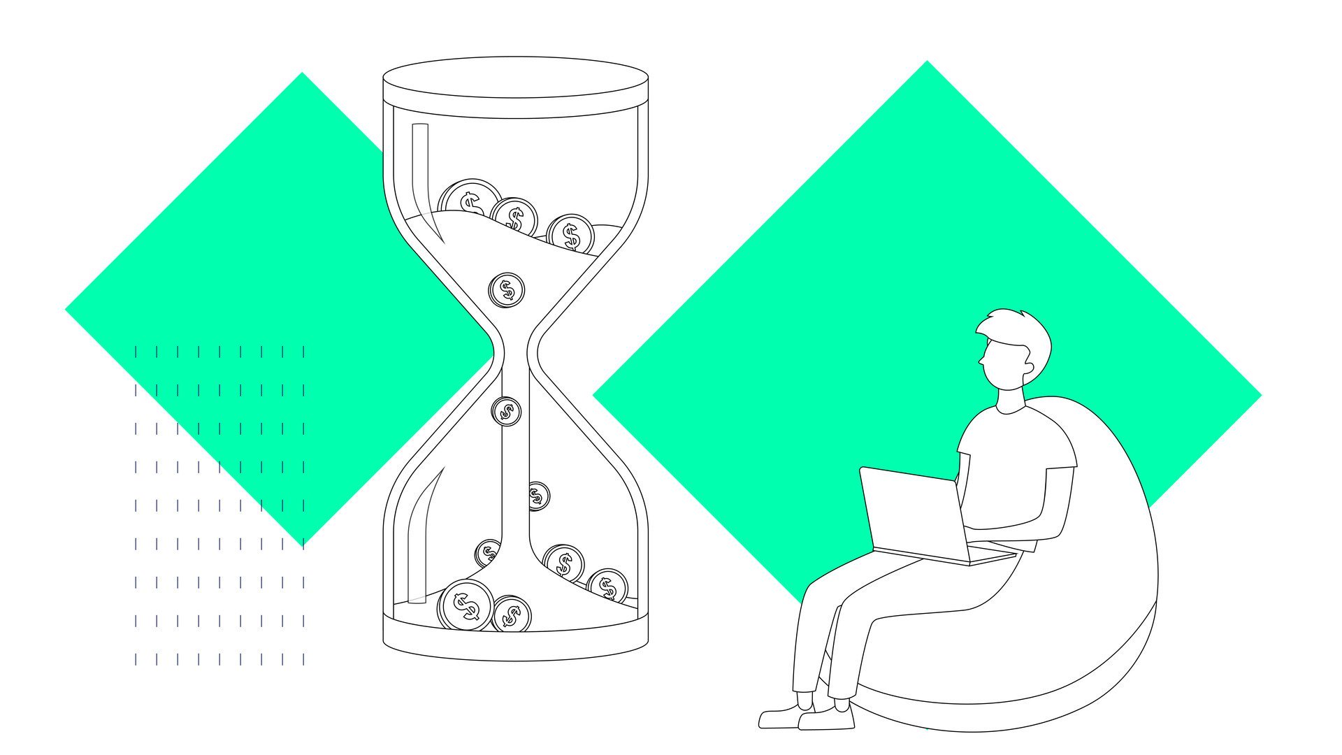 Illustration of a person working on a bean bag looking at a sand timer
