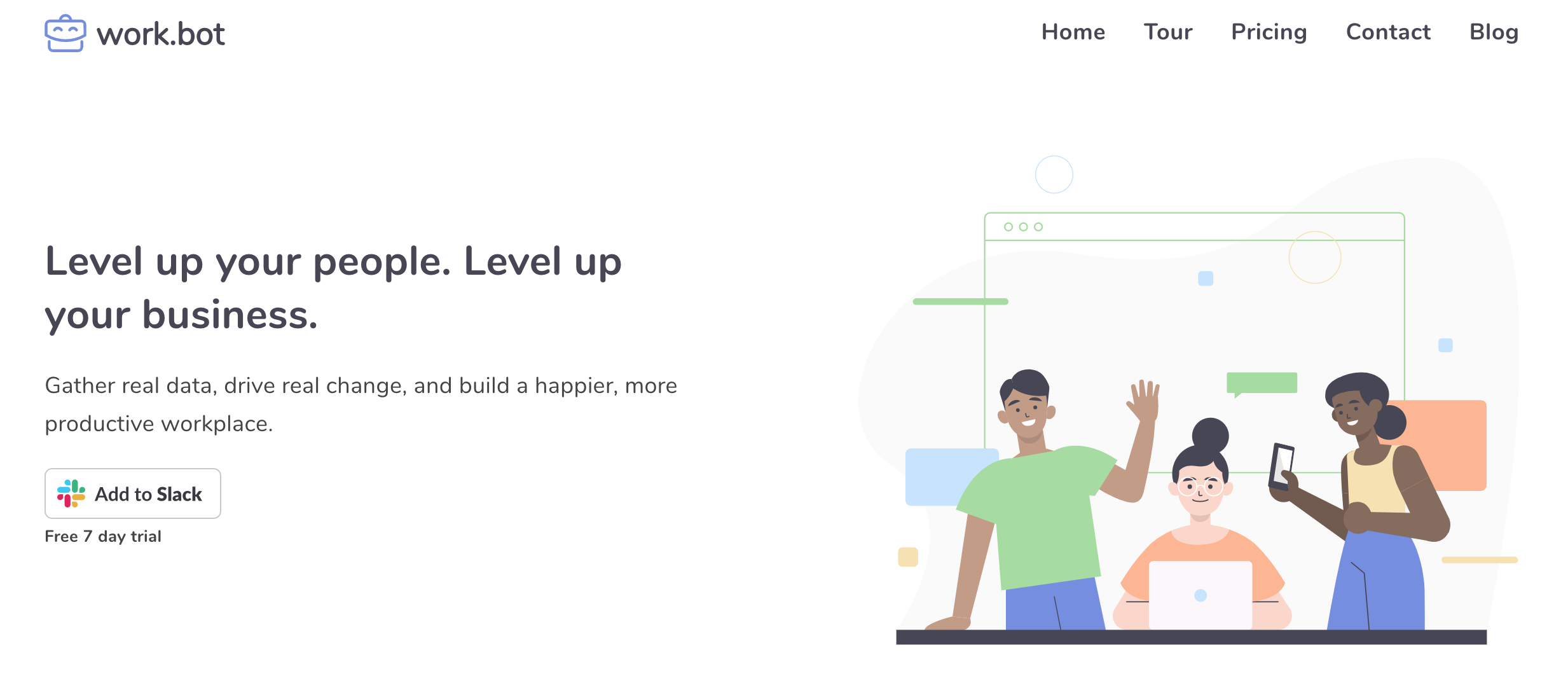 Work.bot's homepage - Employee NPS automation for Slack